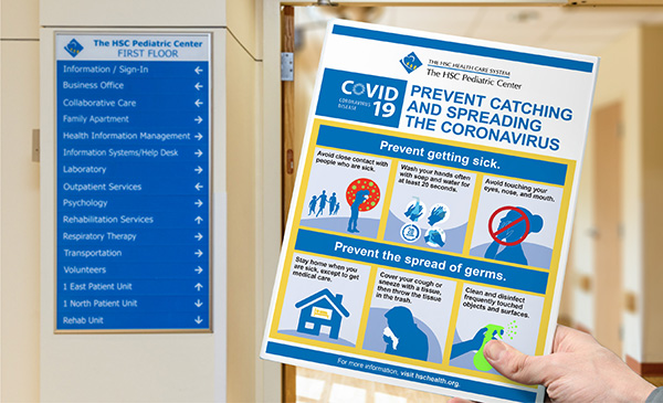 COVID-19 prevention and awareness flyer produced and designed by IQ Solutions for HSC Healthcare System