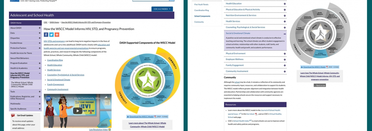 images of two pages from the CDC website that feature information about the WSCC model.