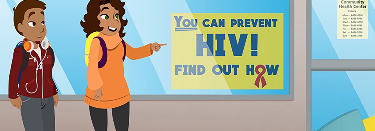 """Illustration of two teens on an urban sidewalk pointing at a sign in a storefront that says """"you can prevent HIV."""""""