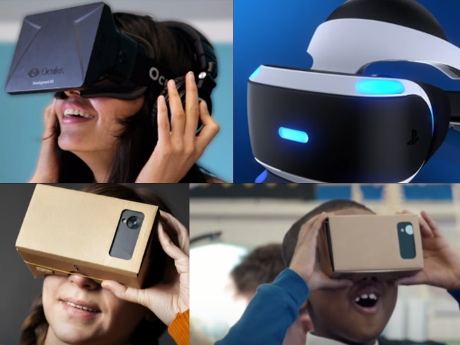 An image collage of four photos of people wearing VR headsets.