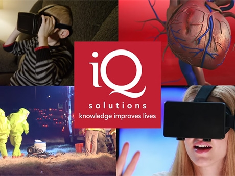 An image collage of people using Virtual Reality and the IQ Solutions logo.