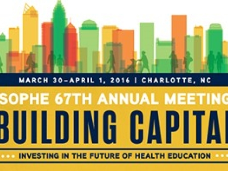 A graphic announcing the SOPHE 67th annual meeting, Building Capital, investing in the future of health education. March 30 - April 1 2016. Charlotte, NC.